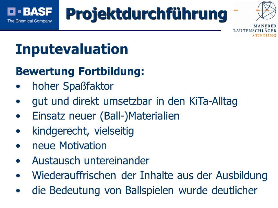 Projektdurchführung Inputevaluation Bewertung Fortbildung: