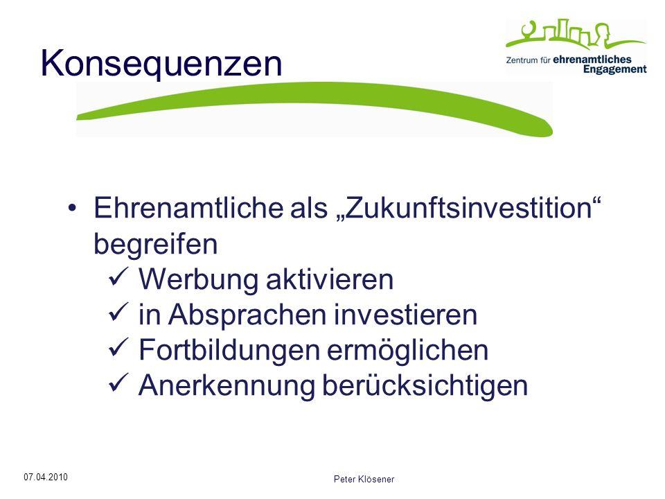 """Konsequenzen Ehrenamtliche als """"Zukunftsinvestition begreifen"""