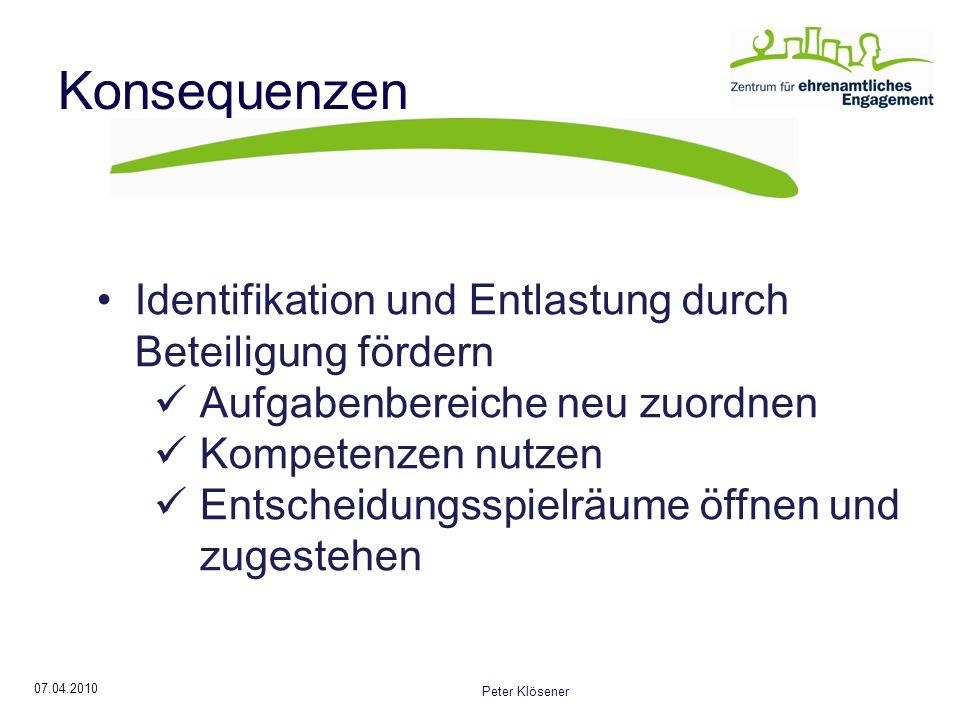 Konsequenzen Identifikation und Entlastung durch Beteiligung fördern