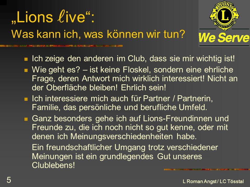 """""""Lions live : Was kann ich, was können wir tun"""