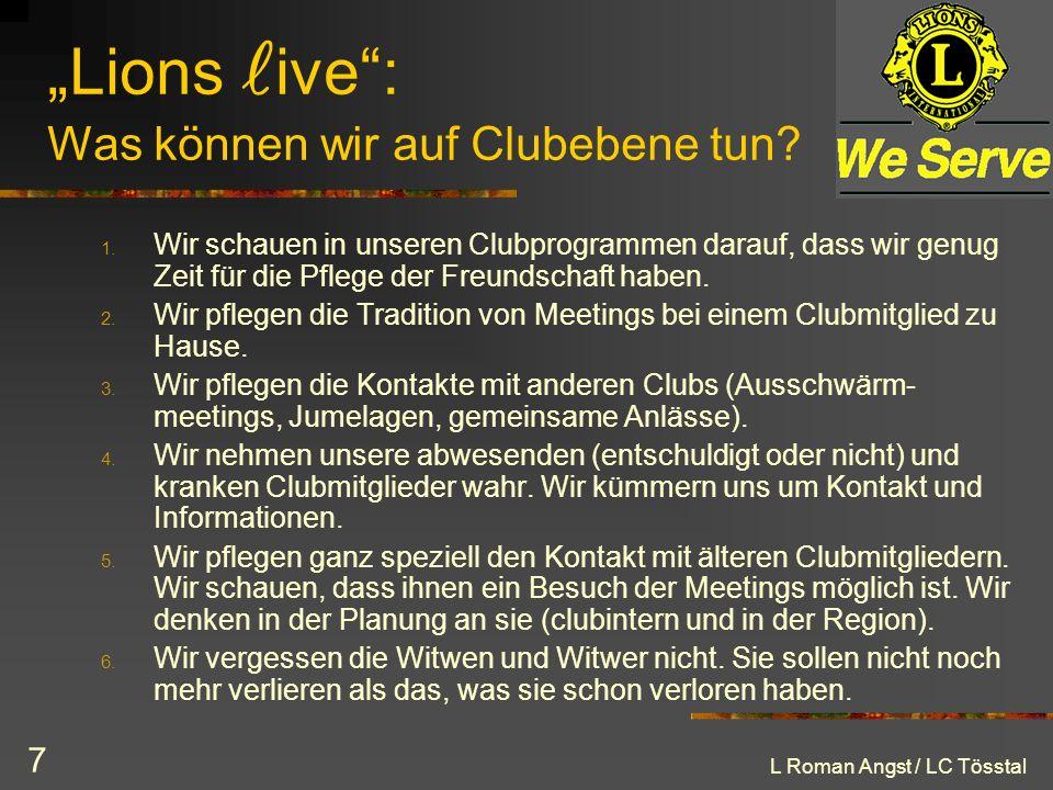 """""""Lions live : Was können wir auf Clubebene tun"""
