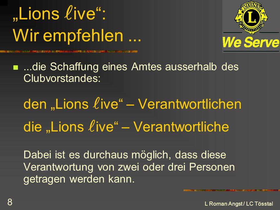 """""""Lions live : Wir empfehlen ..."""