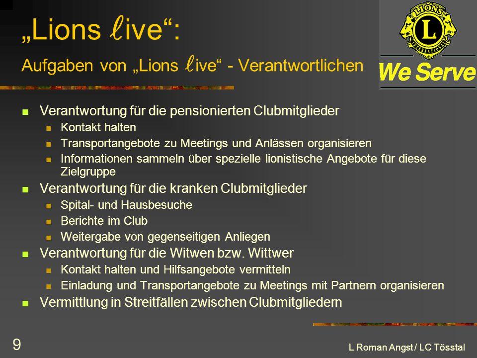 """""""Lions live : Aufgaben von """"Lions live - Verantwortlichen"""