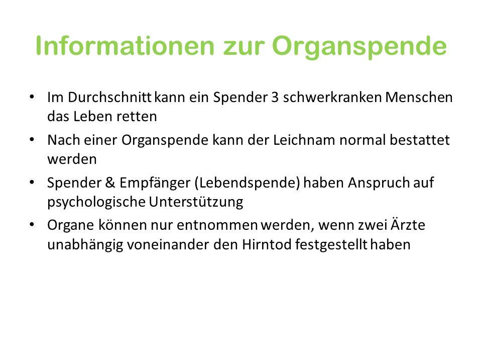 Informationen zur Organspende