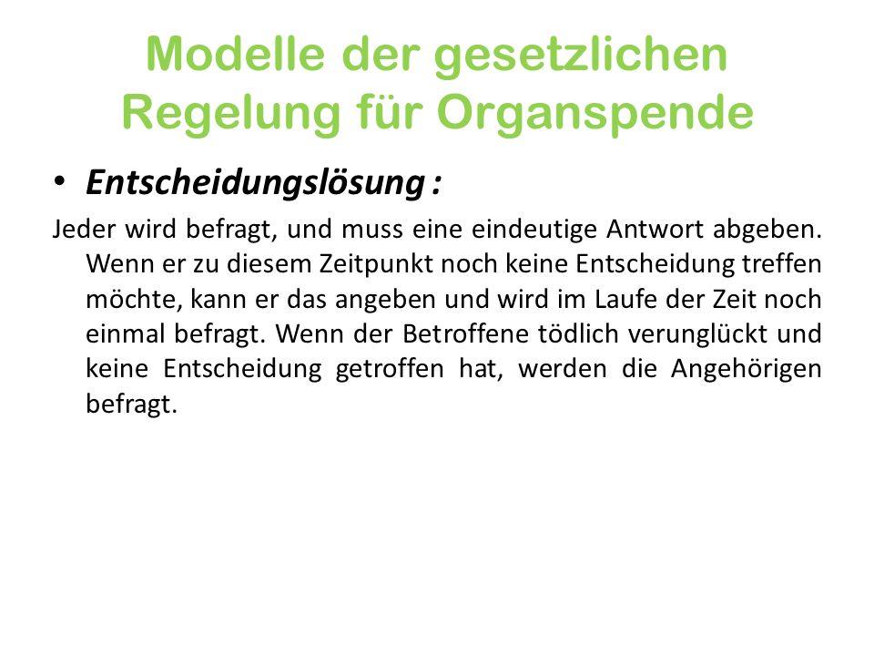 Modelle der gesetzlichen Regelung für Organspende