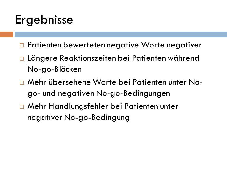 Ergebnisse Patienten bewerteten negative Worte negativer