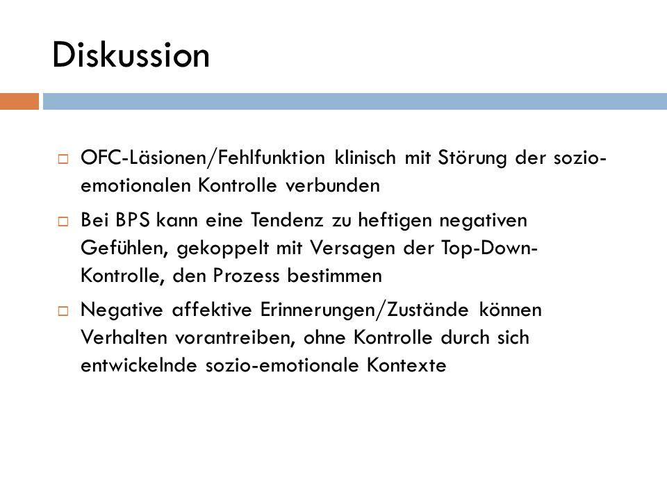 Diskussion OFC-Läsionen/Fehlfunktion klinisch mit Störung der sozio- emotionalen Kontrolle verbunden.