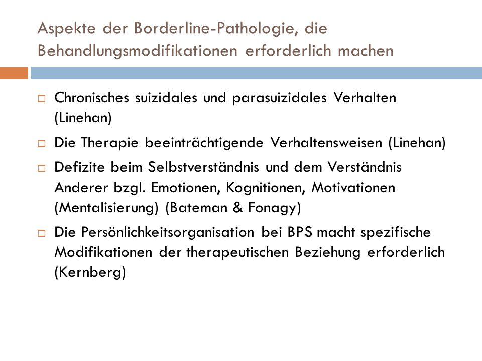 Aspekte der Borderline-Pathologie, die Behandlungsmodifikationen erforderlich machen