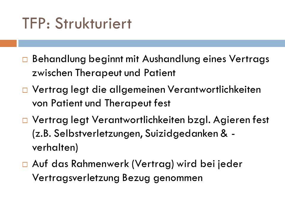 TFP: Strukturiert Behandlung beginnt mit Aushandlung eines Vertrags zwischen Therapeut und Patient.