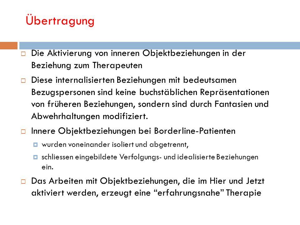 Übertragung Die Aktivierung von inneren Objektbeziehungen in der Beziehung zum Therapeuten.