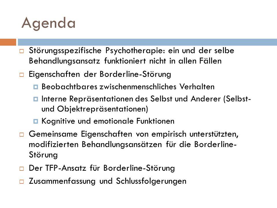 Agenda Störungsspezifische Psychotherapie: ein und der selbe Behandlungsansatz funktioniert nicht in allen Fällen.