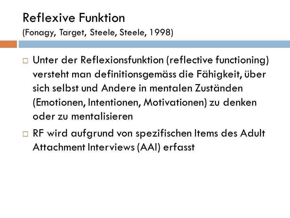 Reflexive Funktion (Fonagy, Target, Steele, Steele, 1998)