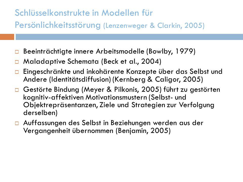 Schlüsselkonstrukte in Modellen für Persönlichkeitsstörung (Lenzenweger & Clarkin, 2005)