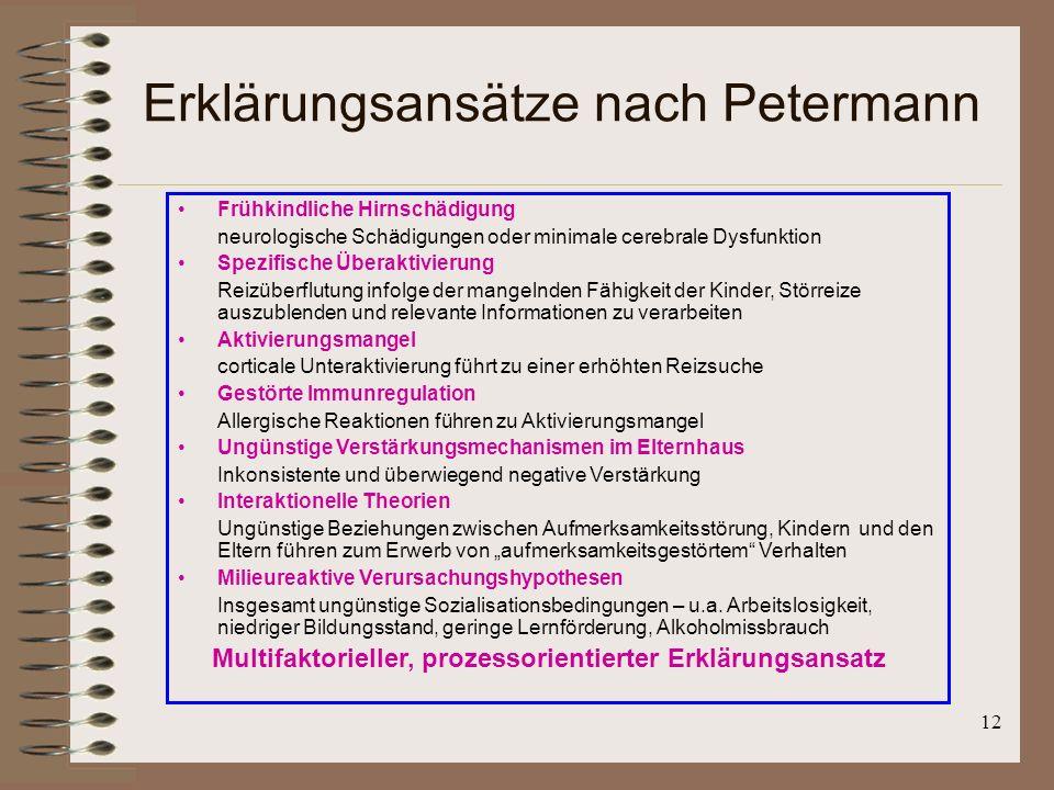 Erklärungsansätze nach Petermann
