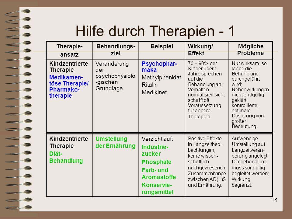 Hilfe durch Therapien - 1