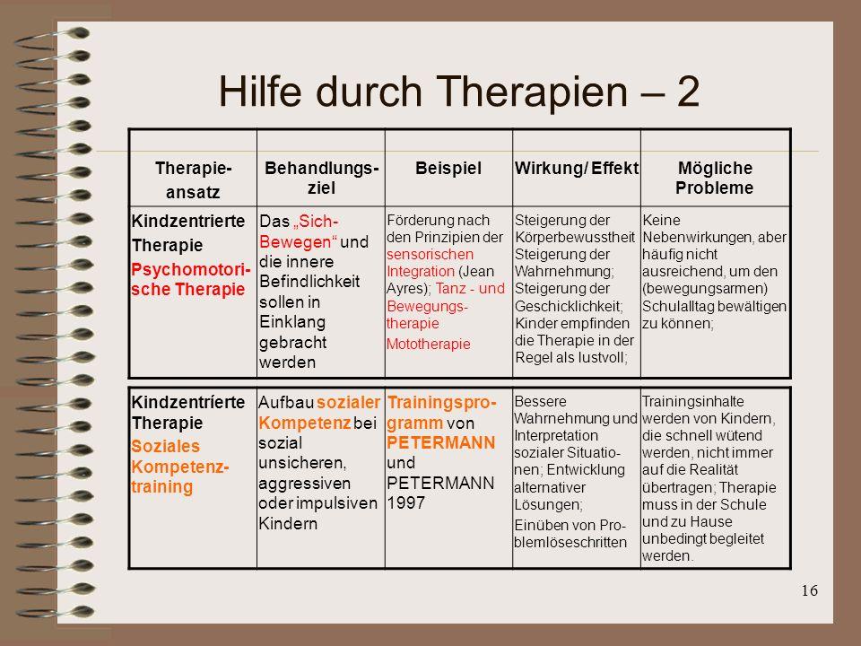 Hilfe durch Therapien – 2