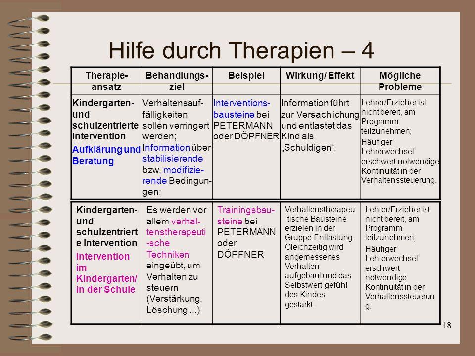 Hilfe durch Therapien – 4