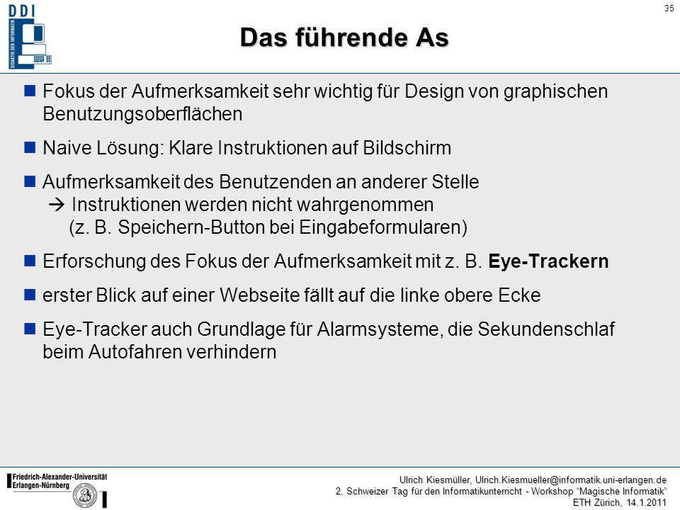 Das führende As Fokus der Aufmerksamkeit sehr wichtig für Design von graphischen Benutzungsoberflächen.