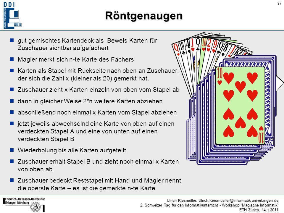 Röntgenaugen gut gemischtes Kartendeck als Beweis Karten für Zuschauer sichtbar aufgefächert. Magier merkt sich n-te Karte des Fächers.