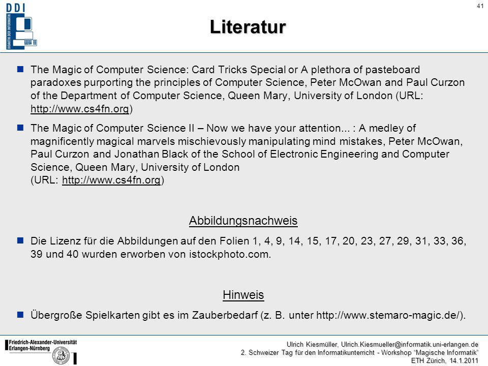 Literatur Abbildungsnachweis Hinweis