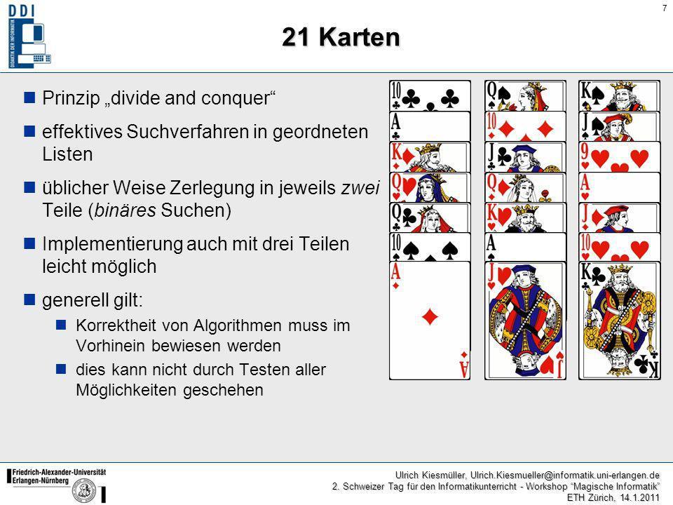"""21 Karten Prinzip """"divide and conquer"""