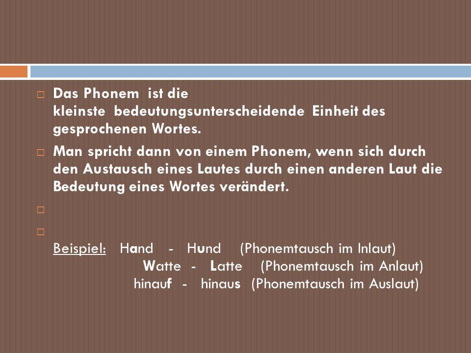 Das Phonem ist die kleinste bedeutungsunterscheidende Einheit des gesprochenen Wortes.