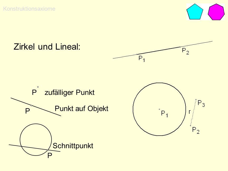 Zirkel und Lineal: P zufälliger Punkt Punkt auf Objekt P Schnittpunkt