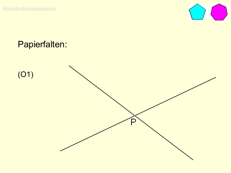 Konstruktionsaxiome Papierfalten: (O1)