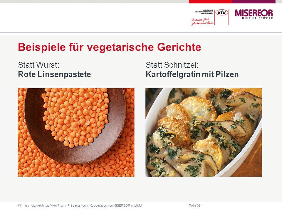 Beispiele für vegetarische Gerichte