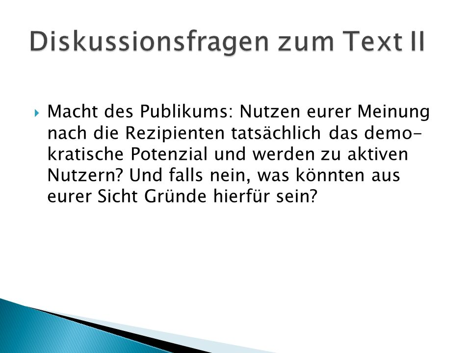 Diskussionsfragen zum Text II