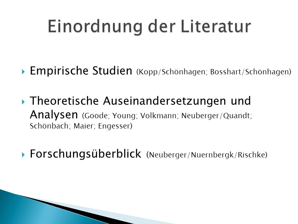 Einordnung der Literatur