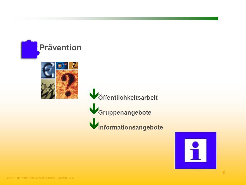 Prävention Öffentlichkeitsarbeit Gruppenangebote Informationsangebote