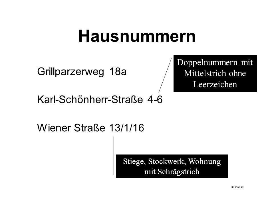 Hausnummern Grillparzerweg 18a Karl-Schönherr-Straße 4-6