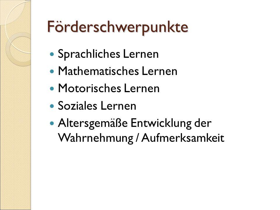Förderschwerpunkte Sprachliches Lernen Mathematisches Lernen