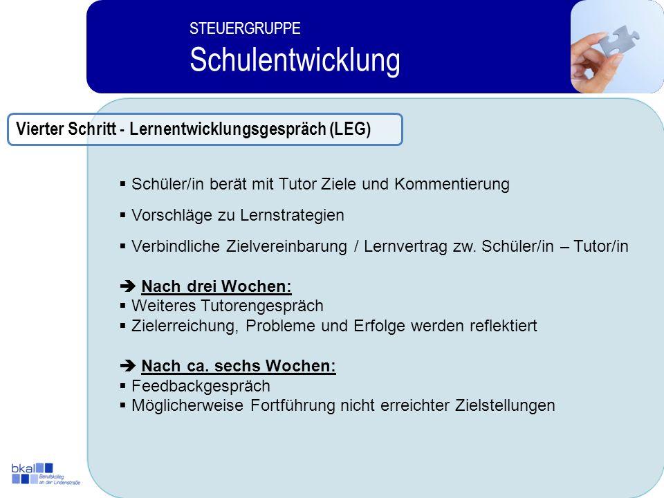 Schulentwicklung Vierter Schritt - Lernentwicklungsgespräch (LEG)