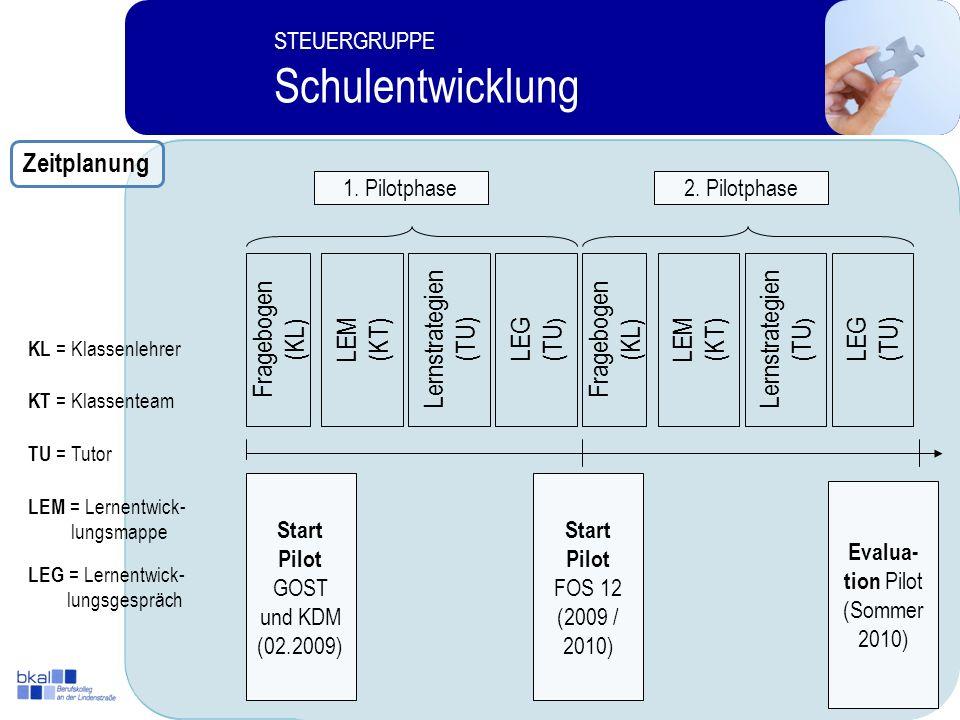 Schulentwicklung Zeitplanung Fragebogen (KL) LEM (KT) Lernstrategien
