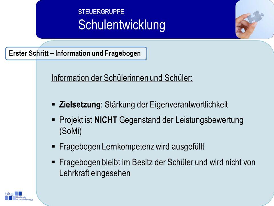 Schulentwicklung Information der Schülerinnen und Schüler: