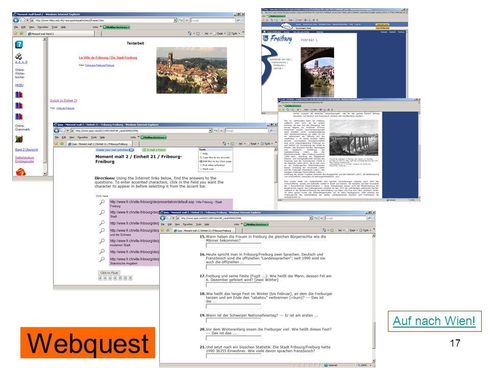 Auf nach Wien! Webquest 12./13.12.2008 Hess/Chaudhuri