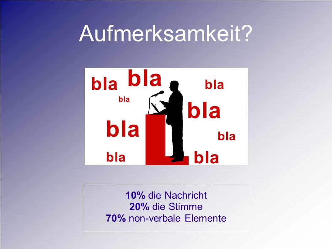70% non-verbale Elemente