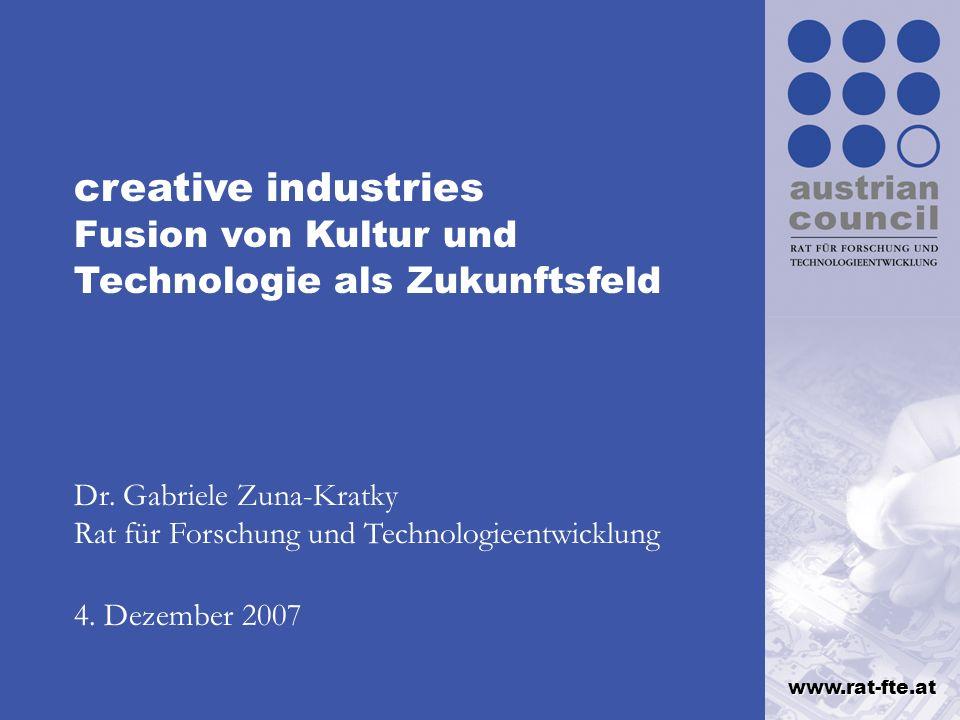 creative industries Fusion von Kultur und Technologie als Zukunftsfeld