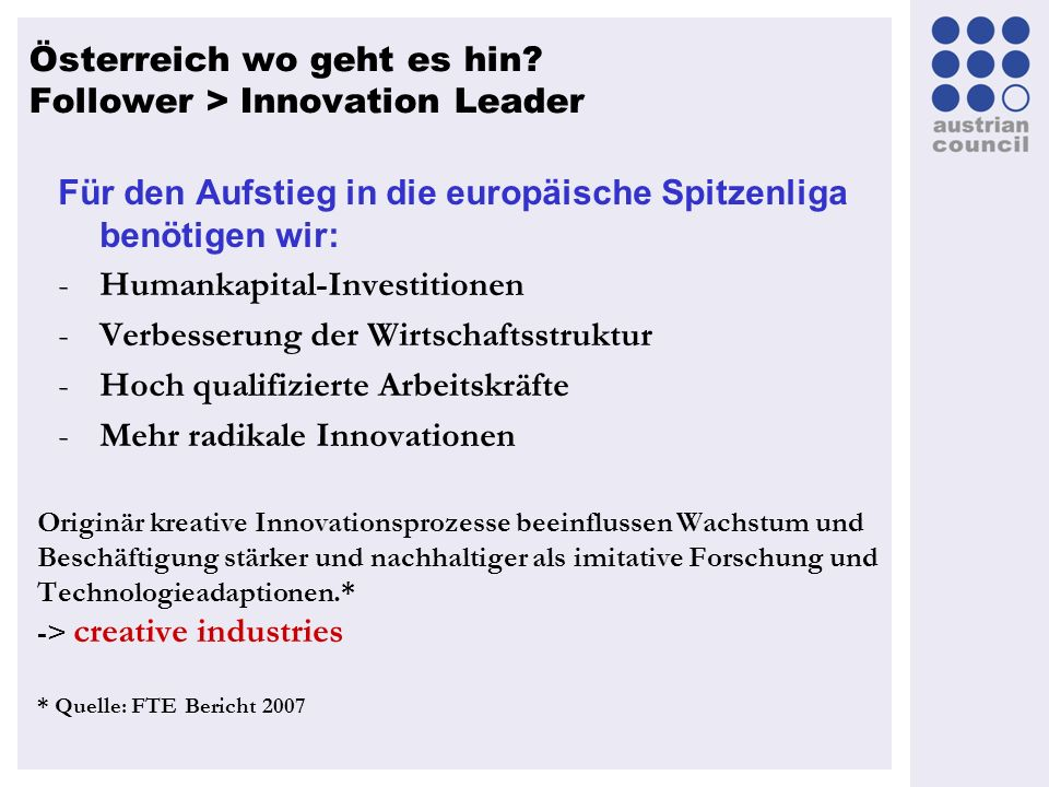 Österreich wo geht es hin Follower > Innovation Leader
