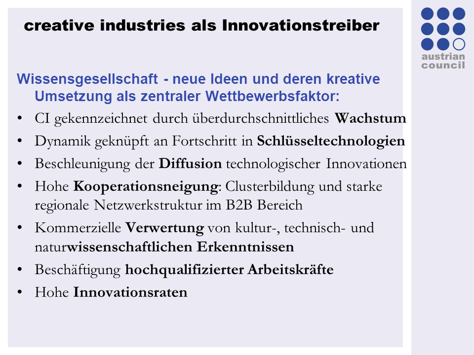creative industries als Innovationstreiber