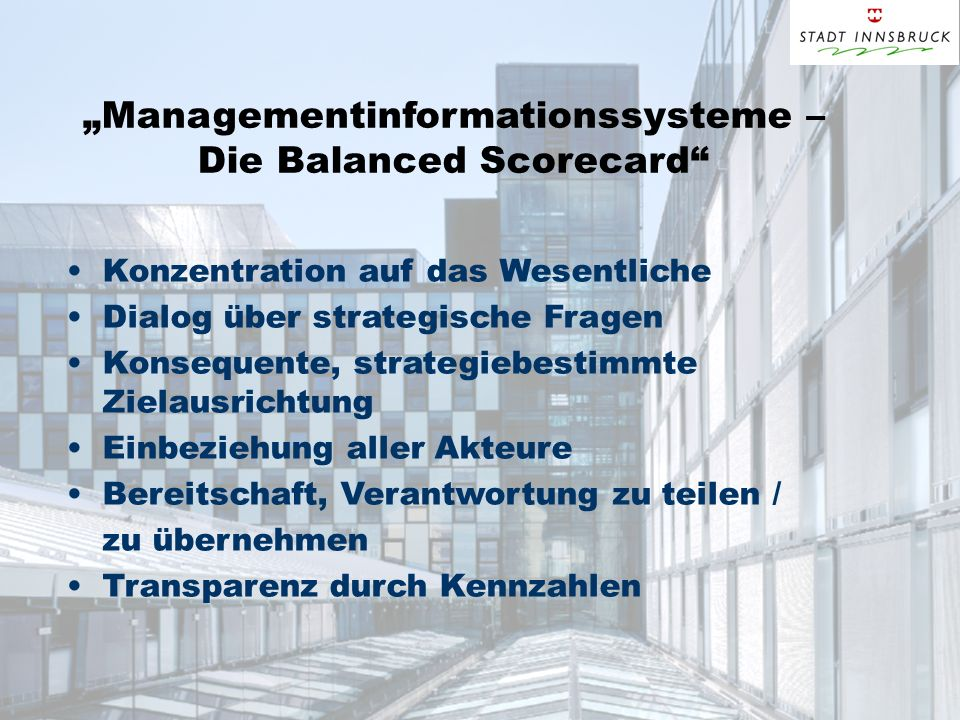 """Managementinformationssysteme – Die Balanced Scorecard"