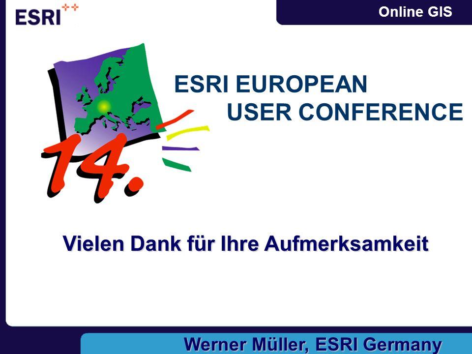 Vielen Dank für Ihre Aufmerksamkeit Werner Müller, ESRI Germany