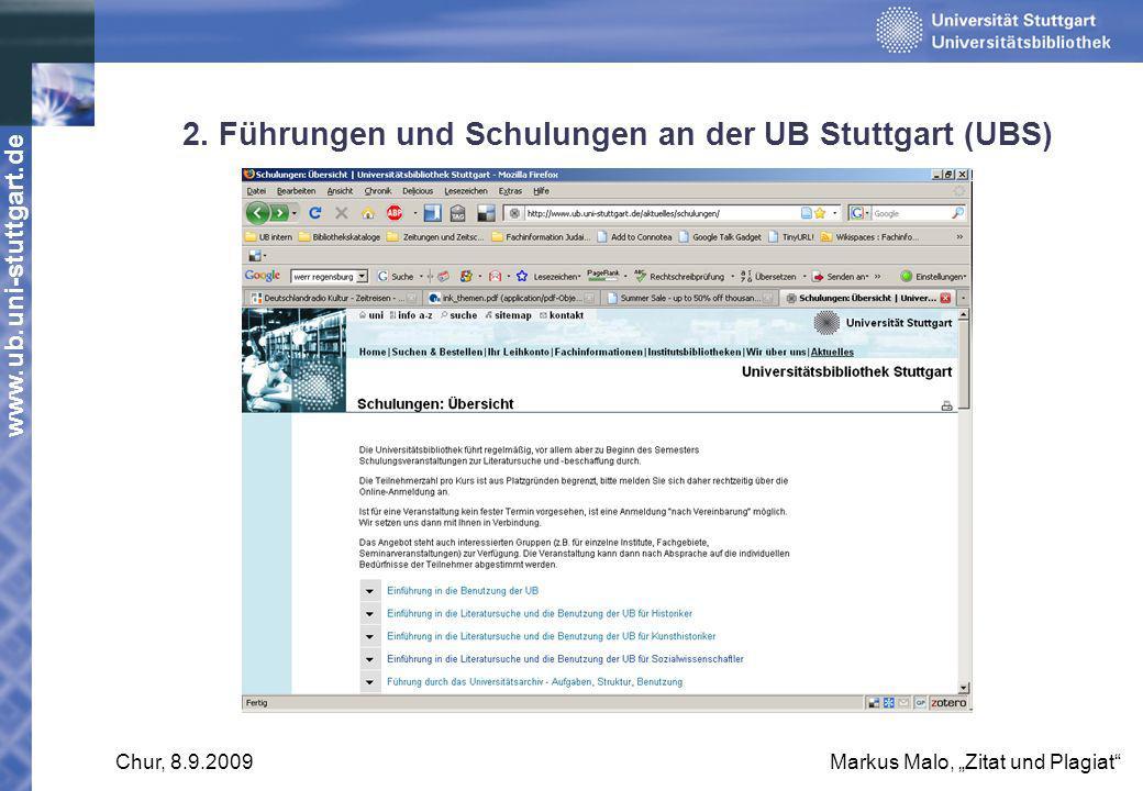 2. Führungen und Schulungen an der UB Stuttgart (UBS)