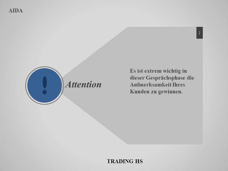 AIDA 1. Es ist extrem wichtig in dieser Gesprächsphase die Aufmerksamkeit Ihres Kunden zu gewinnen.