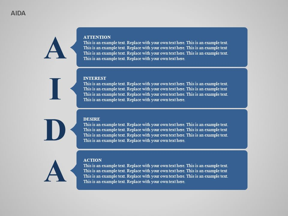 AIDA A. ATTENTION. This is an example text. Replace with your own text here. This is an example text.