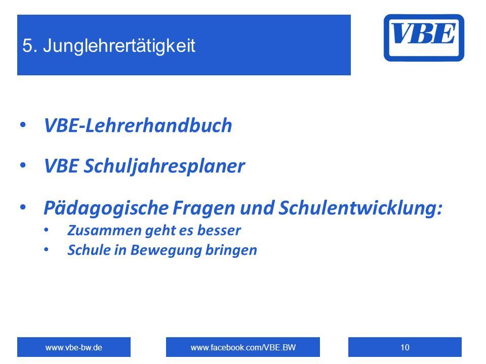 VBE Schuljahresplaner Pädagogische Fragen und Schulentwicklung: