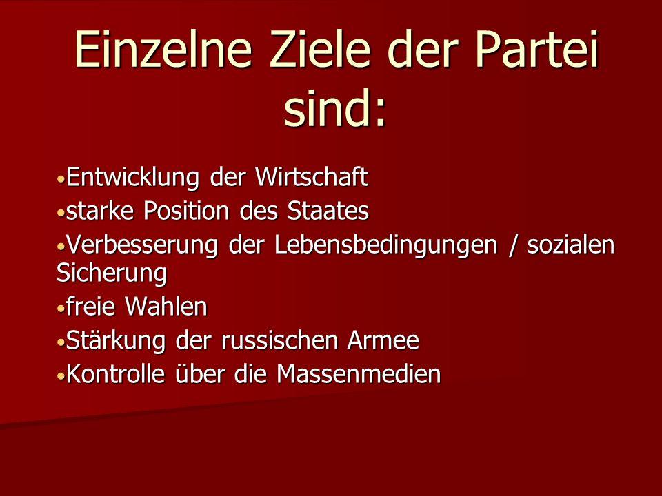 Einzelne Ziele der Partei sind: