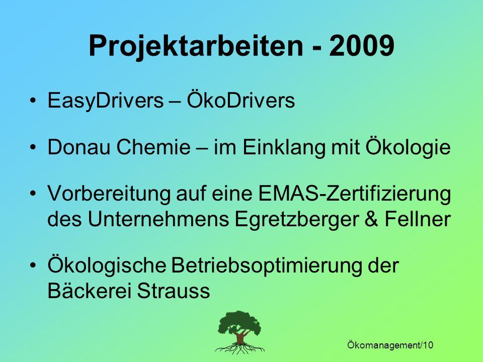 Projektarbeiten - 2009 EasyDrivers – ÖkoDrivers
